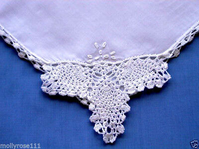 Stunning & Elegant White Crochet Lace & Embroidered Handkerchief  Wedding