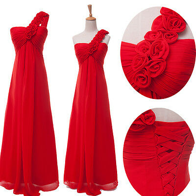RED Bridesmaid Ball Gown Formal Evening Party Long Wedding Prom Dress PLUS SIZE