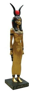 Egyptian Isis Ancient Goddess Golden Hand painted Regal Ankh Statue #1124