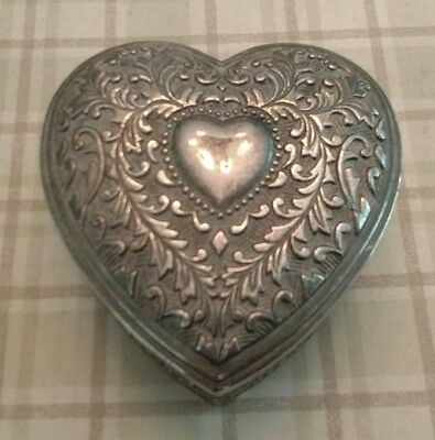 Silver Heart Shaped Trinket Jewlery Box Container