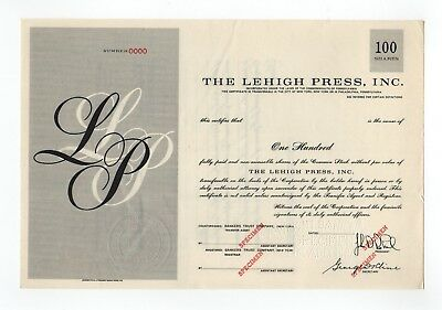 SPECIMEN - The Lehigh Press, Inc. Stock Certificate