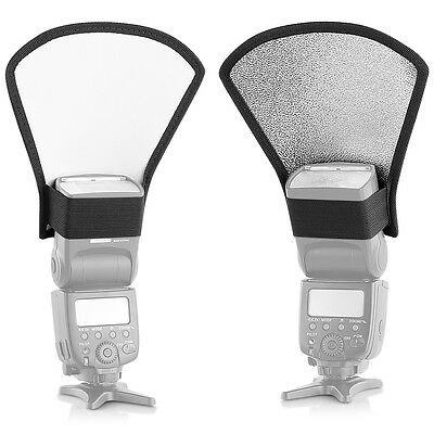 Neewer Two-Sides Flash Diffuser Silver/White Reflector for  Speedlite Flash