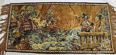 """VINTAGE PIRATE SHIP FRINGED TAPESTRY WALL HANGING 41"""" X 18"""""""