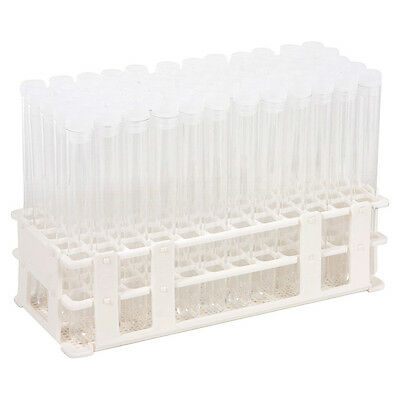 60 Tube - 16x150mm Clear Plastic Test Tube Set with Caps and Rack