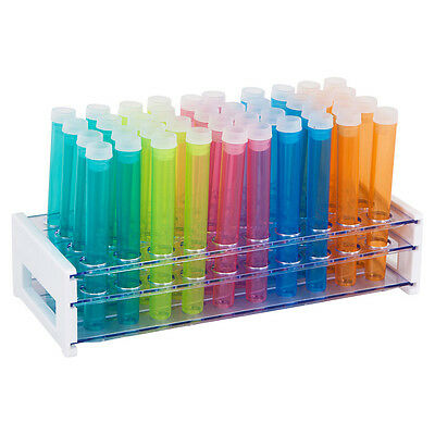 50 Piece Assorted Color Plastic Test Tube Set with Caps and Rack
