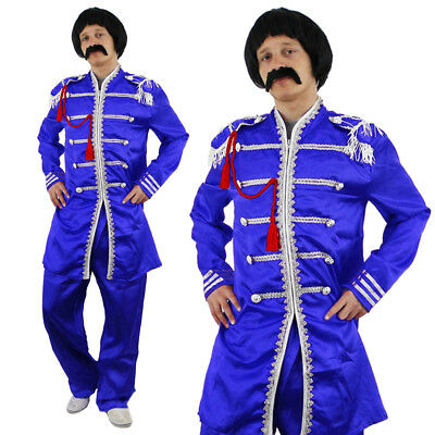 Blue Sergeant Pepper Mens Costume 1960S English Boy Rock Band Outfit Fancy Dress