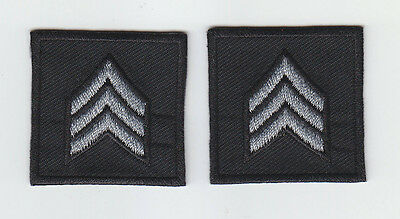 2 Police/Sheriff SGT Sergeant Chevron SILVER on BLACK collar patches NEW ENGLAND