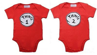 Baby Thing 1 & 2 Red Bodysuit Romper One-Piece 2pcs Twins Set 0-12M