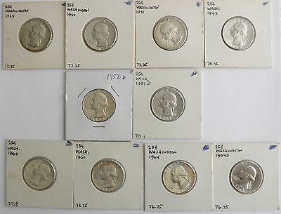 Ten Silver Washington Quarters~~Variety of Dates & Grades~~Individually Carded