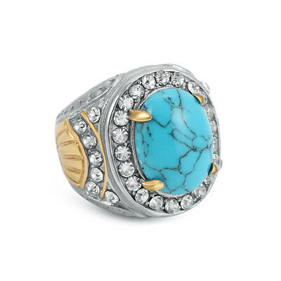 Fashion Stainless Steel Men's Blue Turquoise Crystal Vintage Ring Size 7 8 9 10