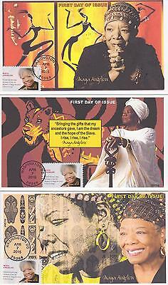 JVC CACHETS-2015 MAYA ANGELOU SET OF 3 BLACK HERITAGE FIRST DAY COVERS FDC's