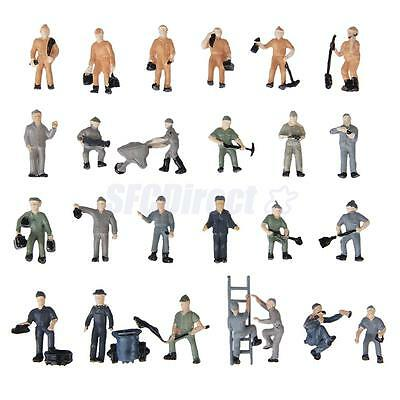 Ho Scale 1:87 Model Figures 25 Train Railway Building Workers In Different Poses