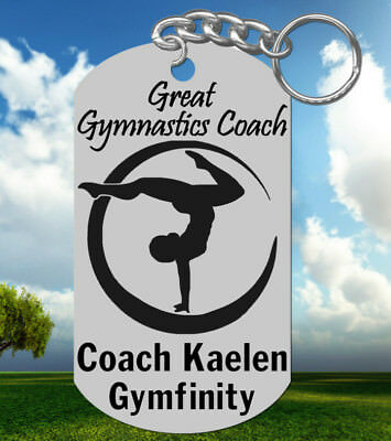 GYMNASTICS Coach Keychain Gift, Personalized with their NAME! Laser Engraved