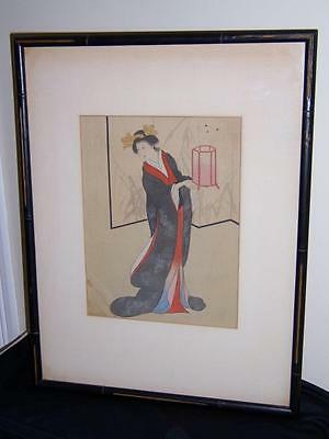 Vintage Japanese Painting On Silk Geisha Girl With Lantern