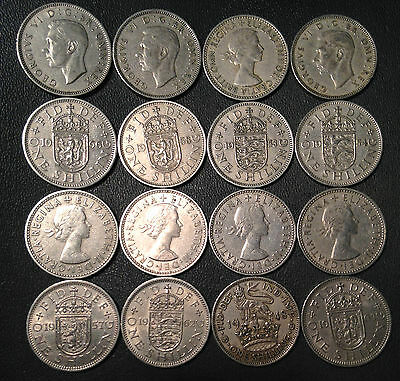 Old Great Britain Coin Lot - 16 SHILLINGS - Unsearched - FREE SHIPPING