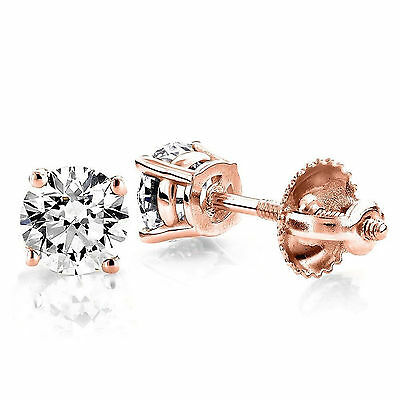 1.0CT Round Solitaire Stud Earrings Diamond Simulant 14k Rose Gold Screw Back