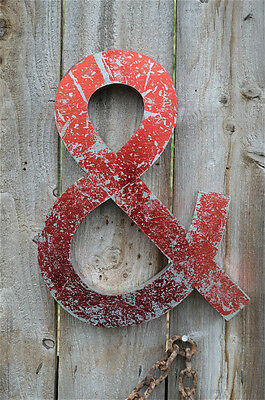 Funky Large Red Metal 3 Dimensional Ampersand & Shop Sign Letter Font Wall Decor