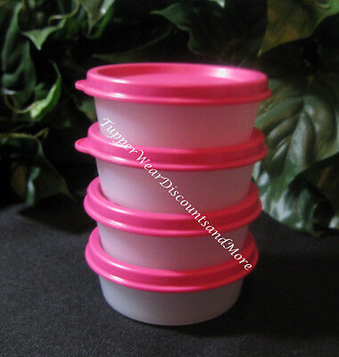 Tupperware NEW MINI SNACK CUP CUPS Bowls Set of 4 Pink Seals