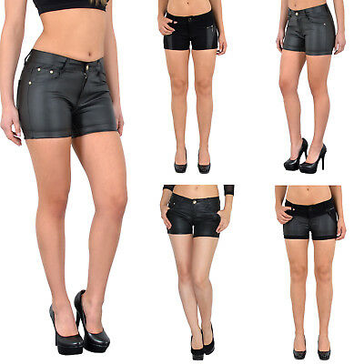 Damen Hotpants Damenshorts Leder Optik Hot - Pants Damen Shorts kurze Hose H35