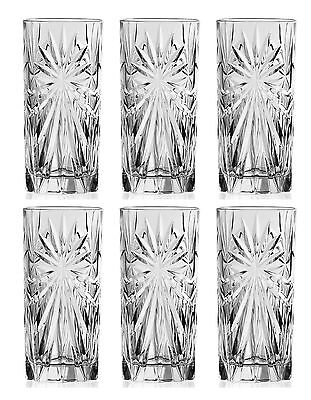 Set Of 6 - Exclusive Oasis Crystal Water Cocktail Glasses, 360 ml From Italy