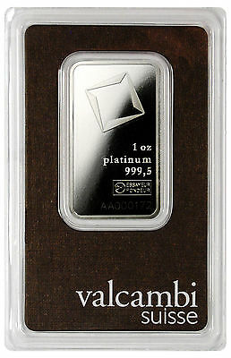 Valcambi Suisse 1 Oz Platinum Bar - Sealed w/ Assay Cert. SKU28602