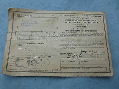1944 Certificate War Necessity Commercial Vehicle Office of Defense Transport