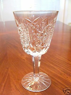 Signed Waterford Irish' Clare' Pattern Crystal Wine Cordial Pedestal Glass Exc