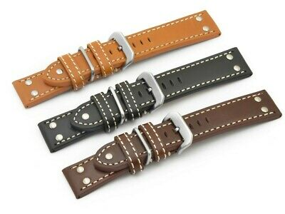 22mm, 24mm, 26mm, Genuine Leather Watch Strap/Band PILOT, Military - MV