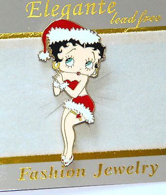 Betty Boop Christmas Pin w Santa Hat / Gold-tone Holiday Jewelry