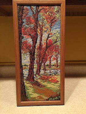 """Beautiful Needlepoint Embroidery Outdoor / Trees Scene Framed 20.5"""" X 8.25"""""""