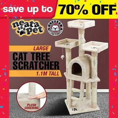 NEATAPET LARGE Cat Tree House Scratching Post Pole Condo Furniture Bed Scratcher