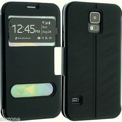 For Samsung Galaxy S5 I9600 Leather Case Cover Wallet Dual Window Flip Pouch