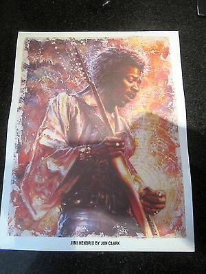 JIMI HENDRIX RARE EARLY 1990s ART PRINT / DISCOGRAPHY