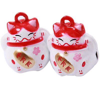 5pcs Red&White Fat Cat Animals Brass Jingle Bells Fit Christmas Decorations C