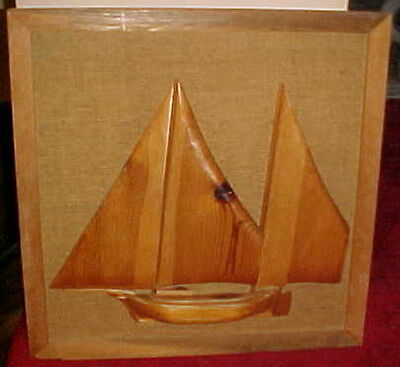 Gorgeous Nautical1970's Era Solid Wood 3-D Sailboat Hand Made Work Of Art Framed