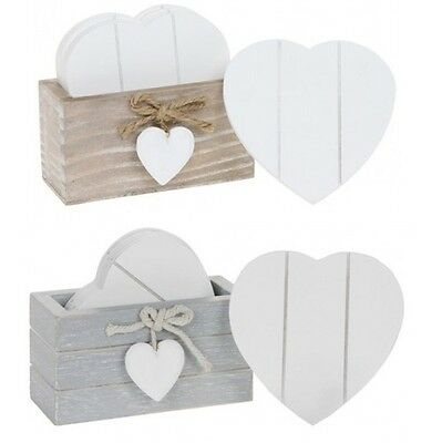 Provence Heart Shabby Chic  Grey or Natural 6 Coaster Set With Heart Detail Wood