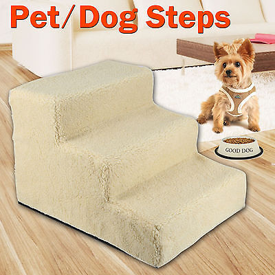 3 Steps Pet Dog Ladder Soft Stairs Puppy Washable Cover Ramp Foldable Doggy