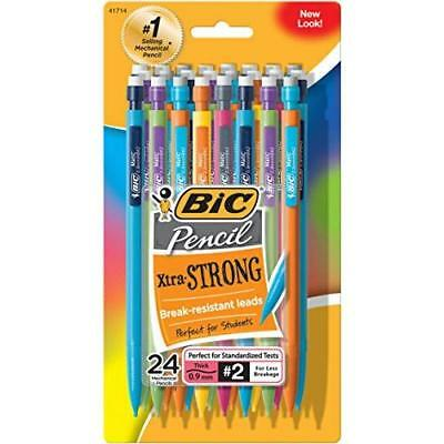BIC Mechanical Pencils Xtra Strong Multi Color Barrels, Thick Point 0.9 mm, 24ct