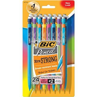 BIC Pencil Xtra Strong (colorful barrels), Thick Point (0.9 mm), 24-Count New