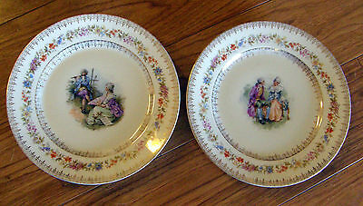 2 Antique Courting Scene Plates C.t. Germany Mark 8 1/2 Inch Diameter So Nice