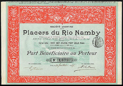 Colombia, Placers du Rio Namby (gold mining), part beneficiaire, 1897