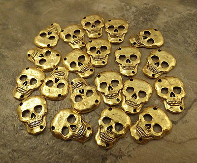 20 Gold Tone Pewter Skull Connector with Two Holes - 5434