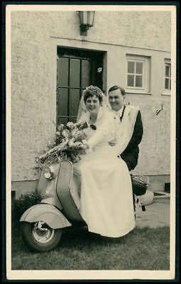 Motorcycle vespa scooter Bride marriga Wedding original 1950s Real photo postcar