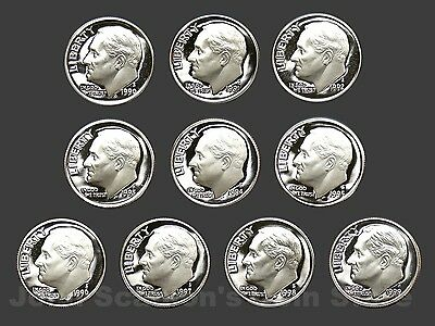 Decade Set of Proof Roosevelt Dimes 1990-1999 (10 Coin Lot)