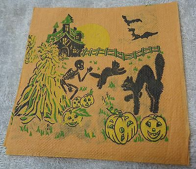 Halloween Vintage Skeleton PLaying With Cats In Field  Orange Napkin