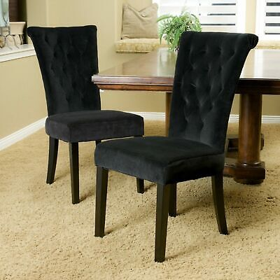 Set Of 2 Rolled Top Backrest Black Tufted Velvet Fabric Dining Chairs