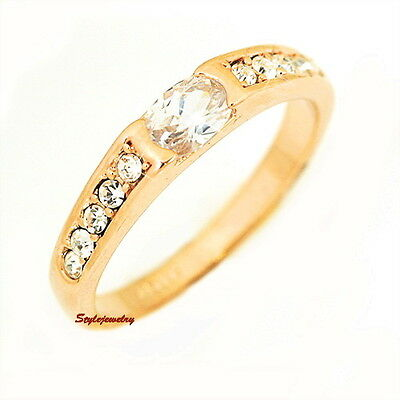 Gold Plated Solitaire Accents Wedding Band Ring Made With Swarovski Crystal SR51
