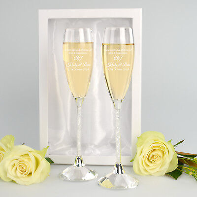 Personalised Engraved GIFT Boxed 2 Piece Crystal Stem Champagne Glass Flutes Set