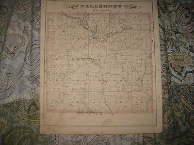 Antique 1875 Fallsbury Mary Ann Township Licking County Ohio Handcolored Map Nr