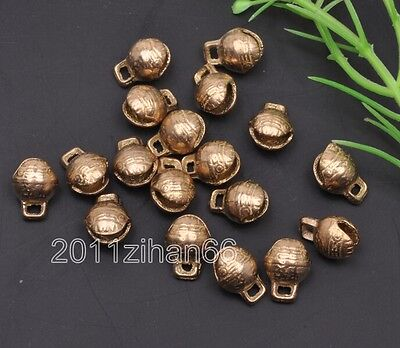 20pcs Small bells Little brass Jingle Bell Dangle Charms With Loop 9x12mm